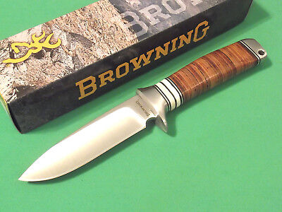 Browning 814 Stacked Leather drop point fixed blade knife 8 1/2