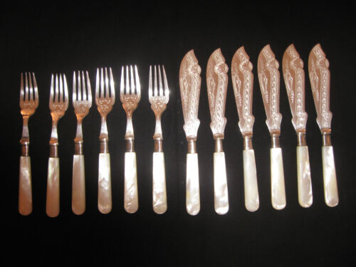 Antique Silver Fish Knives & Forks - Mother-of-Pearl Handles, 6 Sets