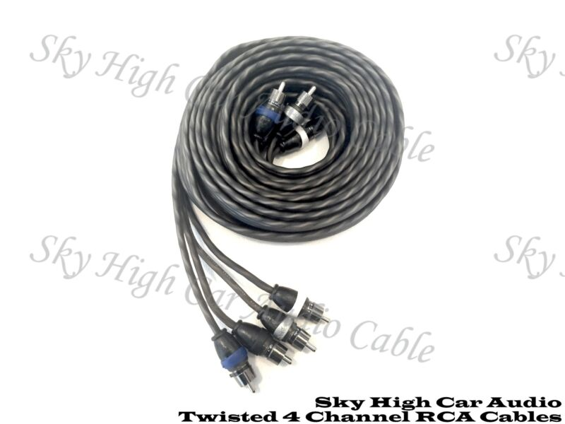 Sky High Car Audio 4 Channel Twisted 12 ft RCA Cables Coated 12