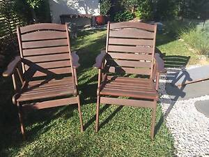 Outdoor Furniture - Jensen Jarrah Captains Chairs Yaroomba Maroochydore Area Preview