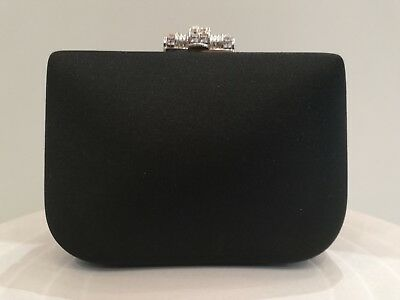 Black Satin Clutch Evening Party Chain Bag by Rodo for Fior Rhinestones Clasp