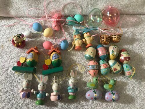 Easter ornaments set of 32 wooden eggs chicks rabbits birds etc PO2174