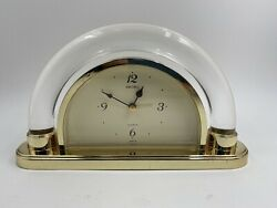 Vintage Seiko Table Desk Clock Quartz Japan Gold QEJ 186G