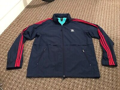 """Men's Adidas Originals Jacket BLUE with RED stripes XL for 46"""" hood in collar"""