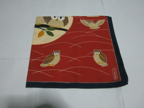 """Japanese Furoshiki Cloth Wrapping Scarf Tapestry 19"""" Cotton Red Owl Pattern #1"""