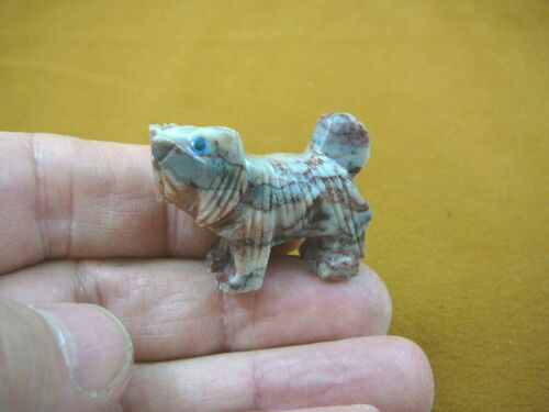 (Y-DOG-LL-12) gray red Lhasa Apso DOG small stone carving SOAPSTONE lap puppy