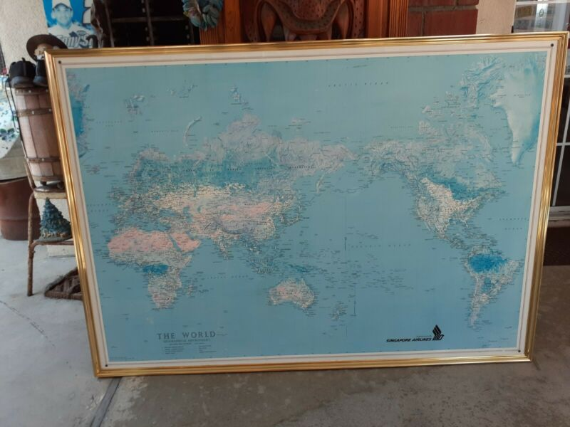 Framed 1983 Sinapore Airlines World Map LARGE 62 X 44