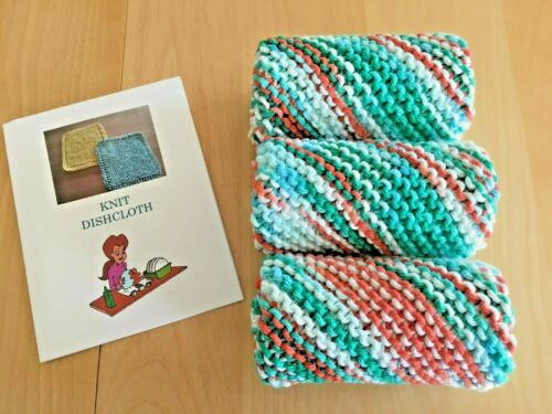 NEW Set of 3-  DISH CLOTHS / WASH CLOTHS for  $9.95 w/ Knitting Directions & FS