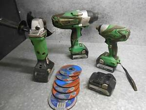 HITACHI 18v LARGE 1/2in Impact gun/ Grinder/Batteries x4 Brookwater Ipswich City Preview