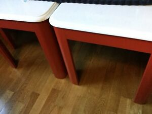 Red & white side tables