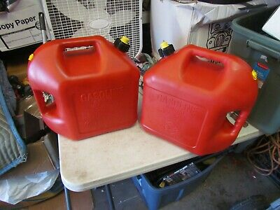 Two Blitz 5 Gallon Gas Cans Vented With Yellow Cap Painted