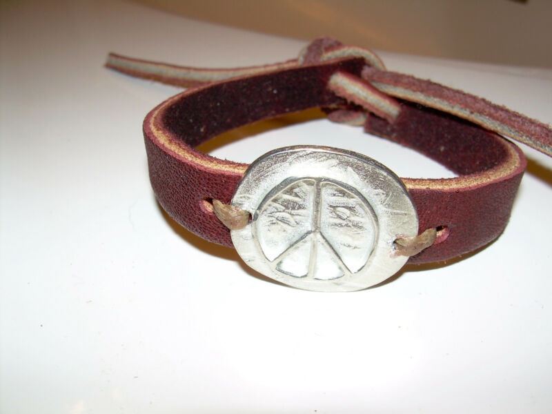 Sundance Catalog Peace symbol on brown leather bracelet adjustable size