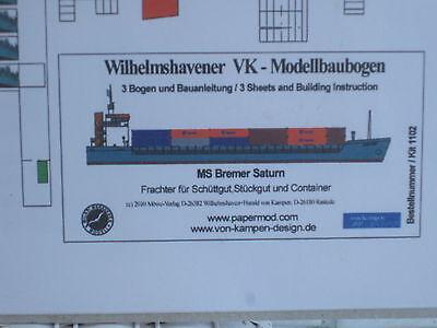 MS Bremer Saturn Schiff Wilhelmshavener Modellbaubogen Bastelbogen Kartonmodel