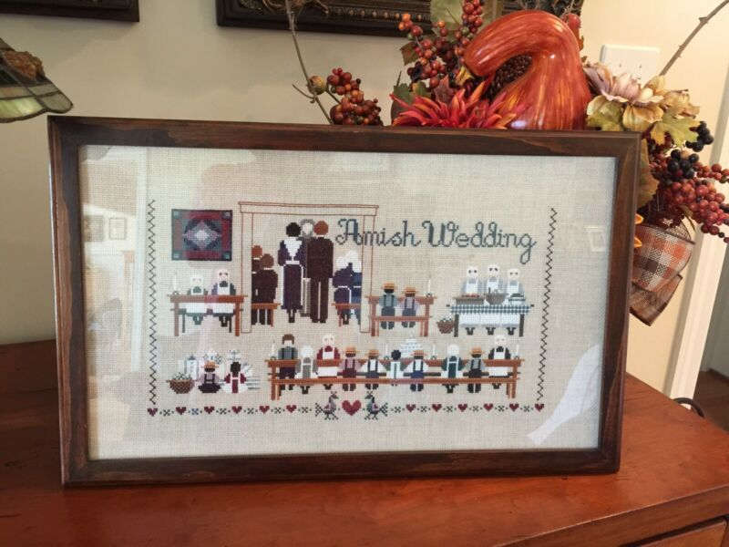Finished Told In A Garden AMISH WEDDING Cross Stitch Framed Completed