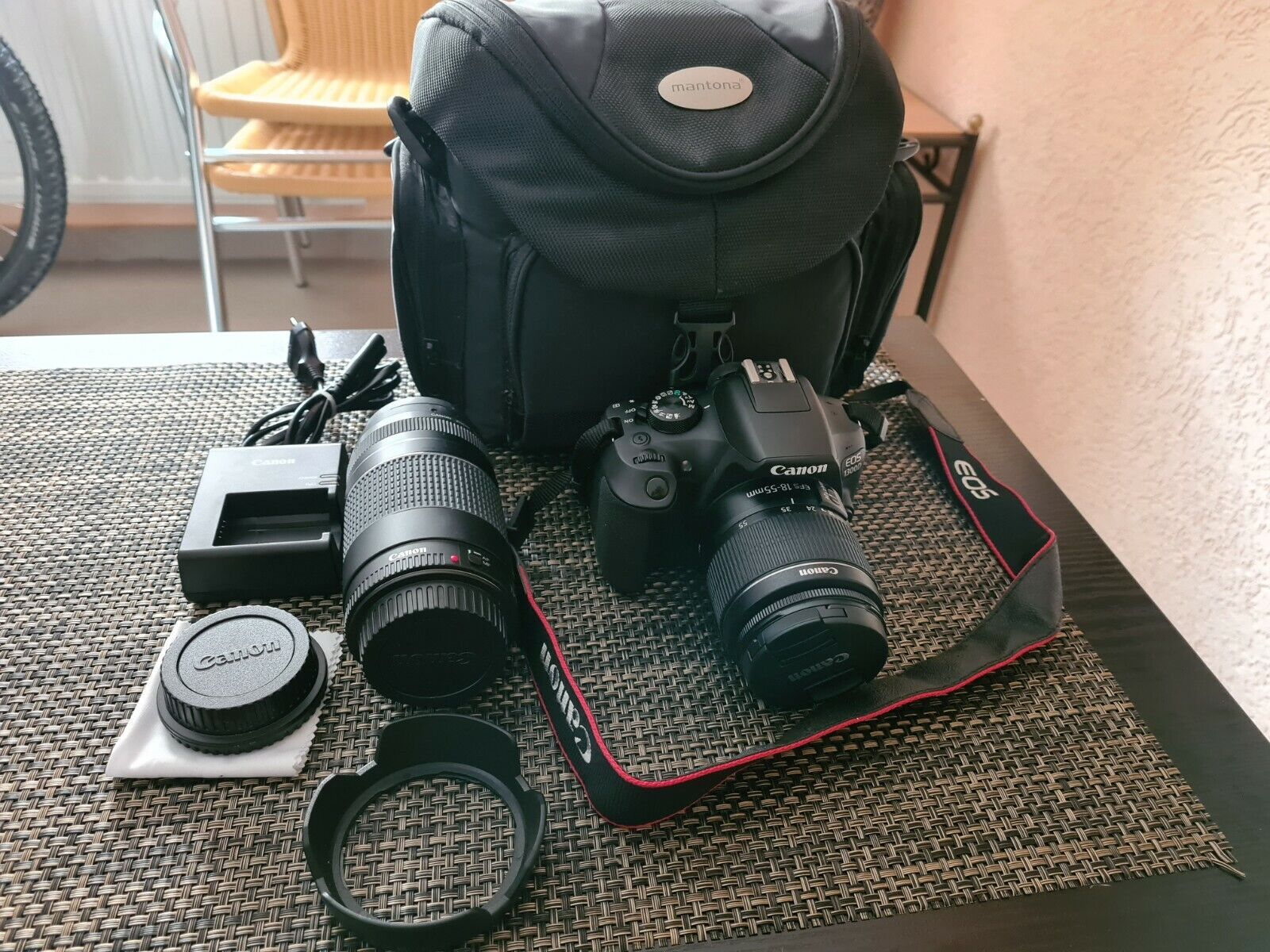 CANON EOS 1300D Kit Spiegelreflexkamera, Full HD, 18-55 mm, 75-300 mm Objektiv
