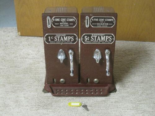 VINTAGE 1 & 5 CENT POSTAGE STAMP MACHINE W/ KEY - WORKING - SCHERMACK