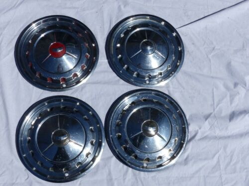 """Nice Used 1957 57 Chevy Chevrolet Car Original Full Size 14"""" Hubcaps Set of 4"""