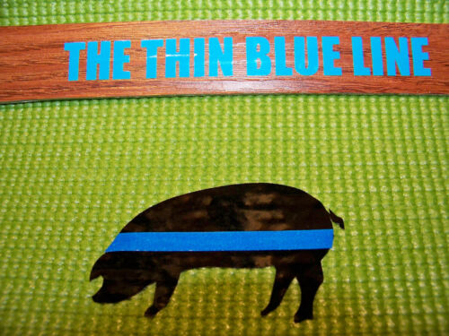 Thin Blue Line- P.I.G. Sillouette with Reflective Blue Line-  Police Sticker