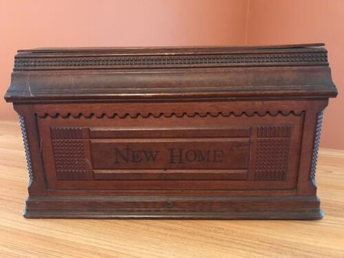Antique New Home Sewing Machine Wooden Coffin Top Cover