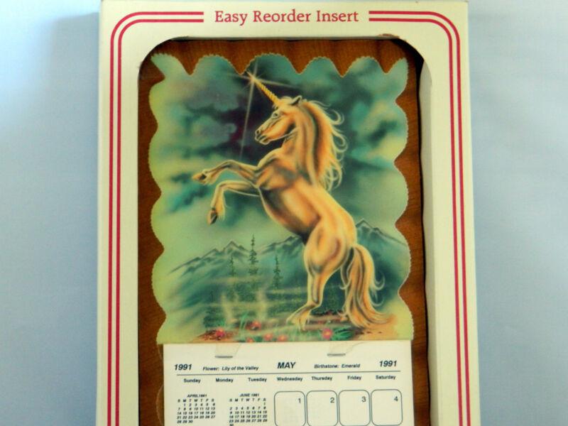 1991 UNICORN Calendar by Wintermute RARE! May thru December Decoupage Wood