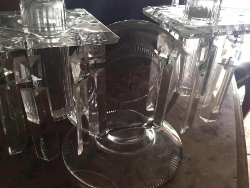 Antique Double Glass Chandelier Holder