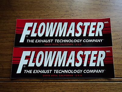 (Lot of 2 FLOWMASTER EXHAUST drag racing contingency decals stickers large size)