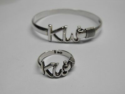 KEY WEST ISLAND 'KW' 925 STERLING SILVER 6mm BANGLE BRACELET & MATCHING RING