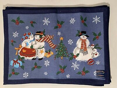 4 HEARTH & HOME Christmas Snowmen Table Placemats Blue 100% Cotton NEW Cotton Rectangular Fireplace