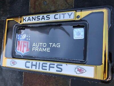 1 Kansas City Chiefs Yellow (Gold) Metal Vehicle License Plate Frame 1 Kansas City Chiefs Framed