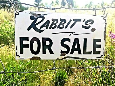 Vintage Rustic Primitive Metal RABBITS FOR SALE Barn Hand Painted Farm Sign