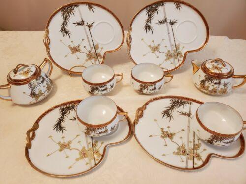 Vintage Geisha Lithophane Porcelain Snack Tea Set 12pieces MADE IN JAPAN