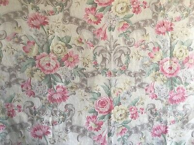 Beautiful 1930's French or English Printed Floral Linen Fabric  (2365)