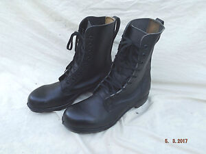 NEW BATA BLACK MILITARY HIGH TOP UNISEX LEATHER BOOTS,SIZE UK 11 REGULAR FIT