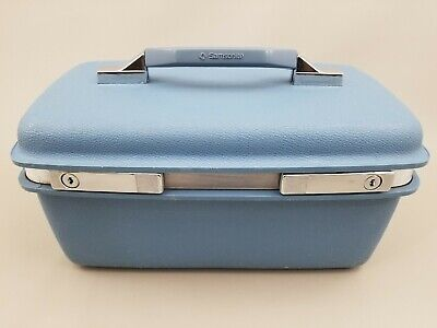Samsonite Royal Traveller Montbello II Train Case Makeup Hardcase Blue Vintage