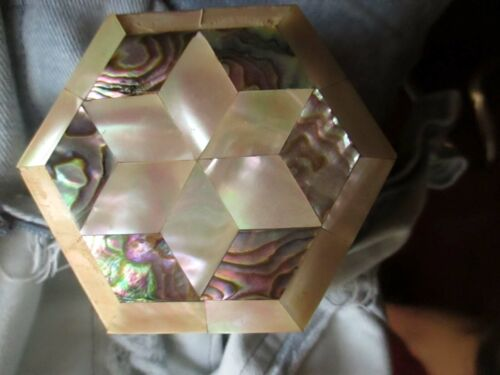 """Vtg 3"""" Gorgeous Abalone and Mother of Pearl Inlay STAR OF DAVID Trinket Box"""