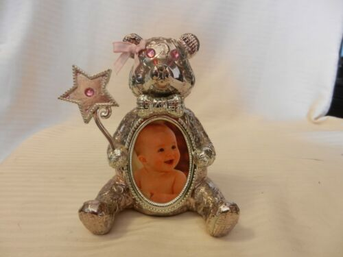 Silver Tone Metal Teddy Bear Baby Picture Frame Holder from Things Remembered