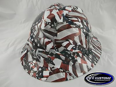 Freedom Pattern Full Brim NEW Custom MSA V GARD Hard Hat w Fas Trac Ratchet