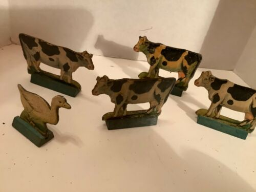 Vintage collectible set of 5 Putz animals on wood bases