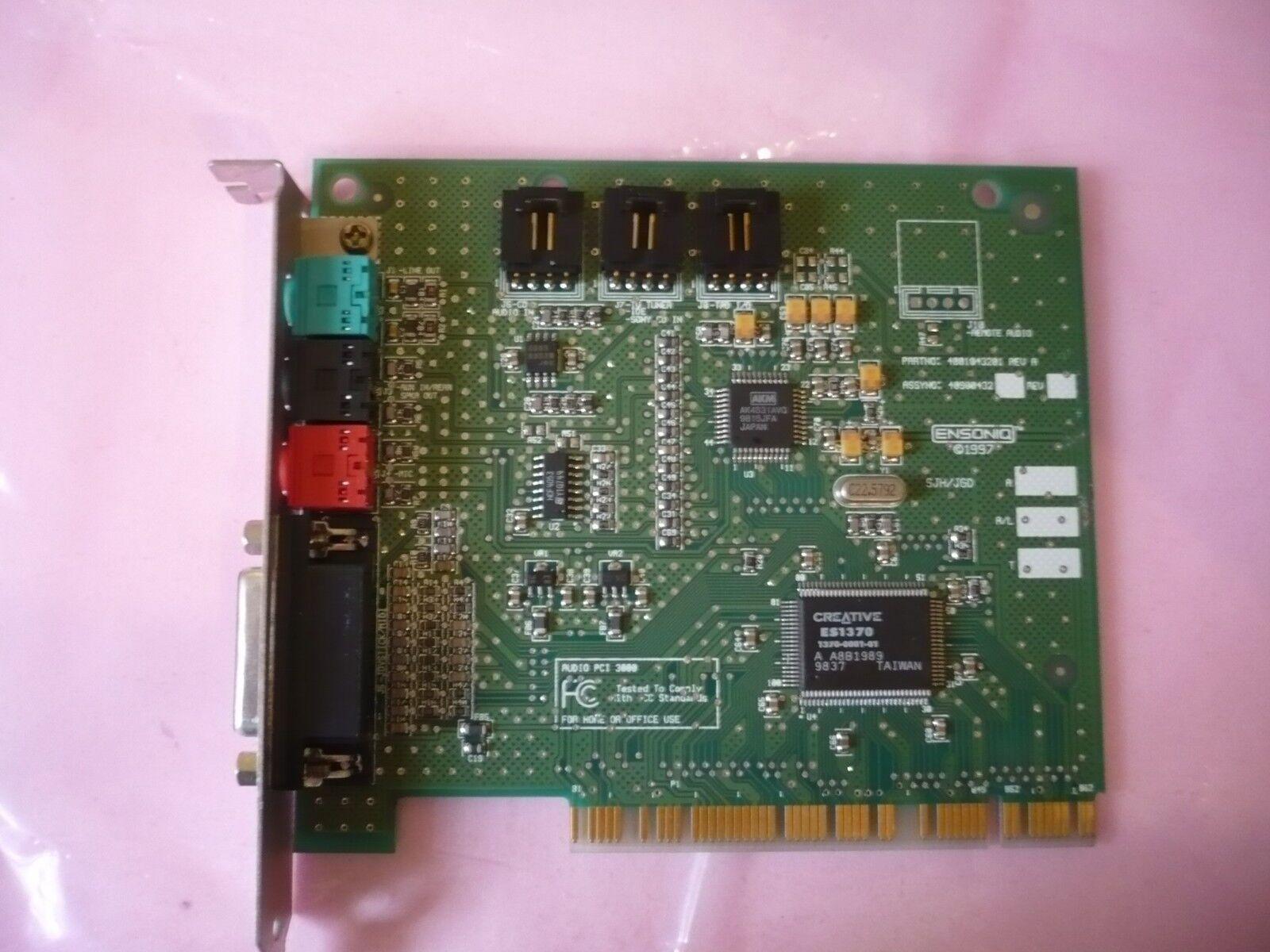 Ensoniq Es1370 Audio PCI 3000 Sound Card 4001043201 Rev a