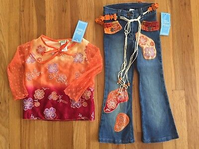 NWT Little Mass Girls Fall 70's Orange Flower Applique Top Jeans Outfit Set - 70s Girl Outfits