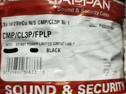 Southwire/Tappan 18/2C Plenum Stranded Security/Alarm Cable CMP Black /100ft