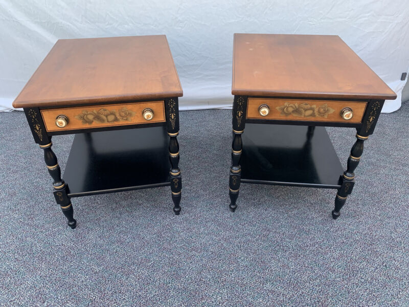 Lambert Hitchcock Signed Pair of Side End Tables