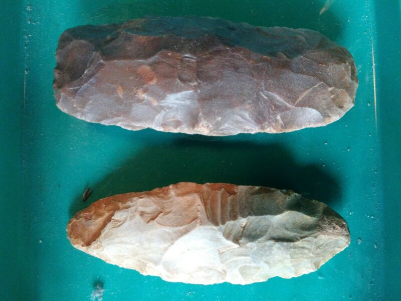 Lot Of TWO Ancient Egyptian Neolithic Stone Hand Axes / Tools - Fayum