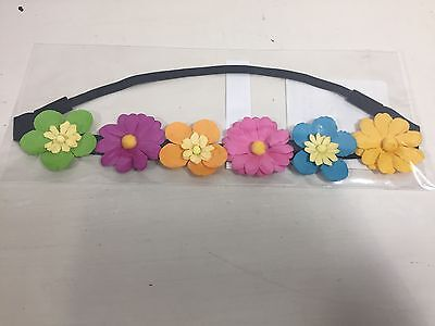 Spring Floral Crown Headband Flowers Hair Elastic Pastel Day of the Dead Pretty ](Day Of The Dead Hair Flowers)
