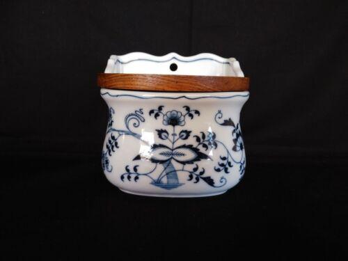 Vintage Blue Danube Salt Box with Wooden Lid Rectangle Mark