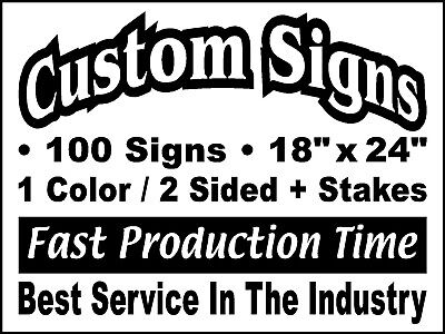 - 100 18x24 Double Sided Custom Coroplast Yard Signs + Stakes