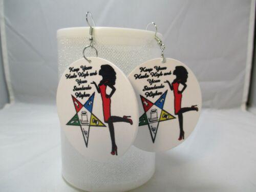 Order of the Eastern Star Wooden Earrings Earrings for Women Statement Earrings
