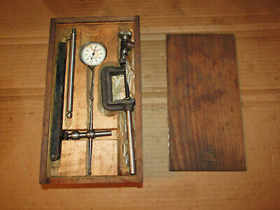 Vintage L.s. Starrett No.196a Dial Test Indicator Set In Wooden Case - Collector