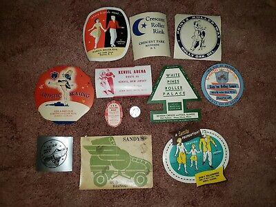 11 Vintage Roller Rink Skating Labels Stickers Decals Lot Warren Prints Pines