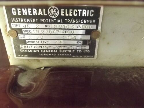 General Electric Potential Transformer 2300-115 Type: JE2